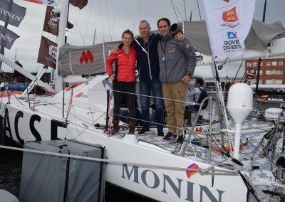 Olivier Monin avec Isabelle et Morgan / Transat Jacques Vabre Normandie Le Havre / © Lanic Sport Team